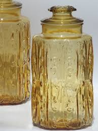 amber glass tall canisters kitchen canister jars set of 4
