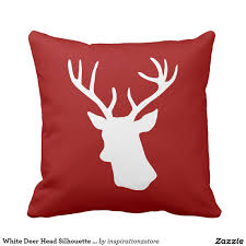 white deer head silhouette on red decorative red throw pillows