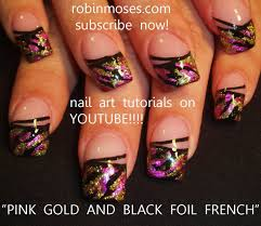 how to use nail foil on nails gold and pink nail art with
