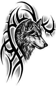 amazing black tribal wolf design