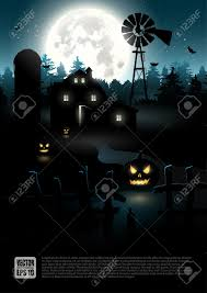 haunted farmhouse in the woods halloween poster royalty free