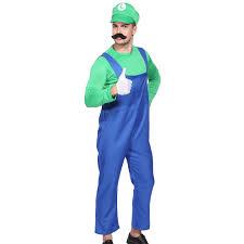 mens boys super mario luigi brother plumber cosplay