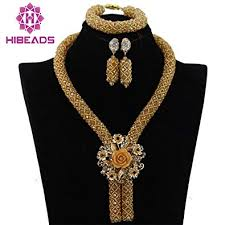 beaded pendant necklace designs images Gold costume jewelry set nigerian wedding african jpg