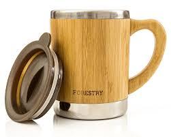 amazon com stainless steel and bamboo insulated mug coffee cups