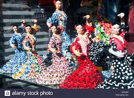dolls as flamenco dancers in a shop window madrid spain stock