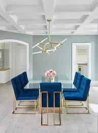 Jonathan Adler Drapes Jonathan Adler Goldfinger Blue Velvet Dining Chairs Frame A