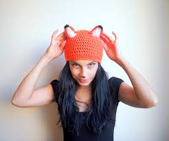 Womens Fox Halloween Costume Crochet Pattern Fox Hat Beanie Women Animal Costume Diy