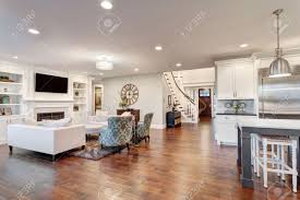 Interior Of Luxury Homes Beautiful Living Room In Luxury Home With View Of Kitchen And