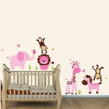 Safari Nursery Wall Decals Pink And Green Jungle Theme Wall Decals With Wall Decal For