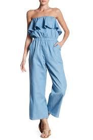 strapless denim jumpsuit lucca couture strapless denim ruffle jumpsuit nordstrom rack