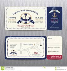 Invitation Card With Rsvp Nautical Ticket Wedding Invitation And Rsvp Card With Anchor