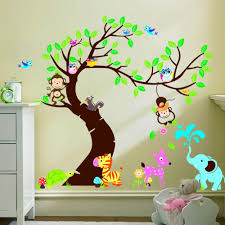 hot nail bar shop hair beauty salon wall art stickers decal diy tree and monkey wall sticker children room background zypa diy decoration nursery daycare baby decor