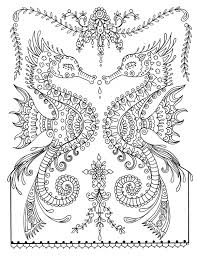 printable sea horse coloring page instant download