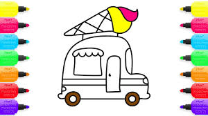 how to draw ice cream truck coloring pages for kids nursery