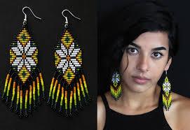 Native American Beaded Earrings Huichol Ojo De Dios Peyote Beaded Earrings Native American Style Beaded