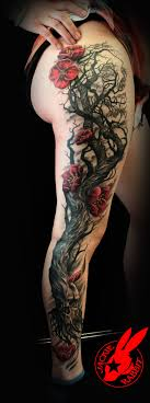 skull tree cherry blossom by jackie rabbit tattoos