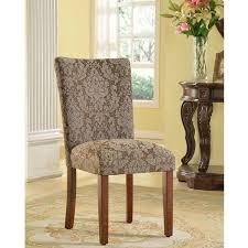 Damask Chair Homepop Elegant Blue And Brown Damask Parson Chairs Set Of 2