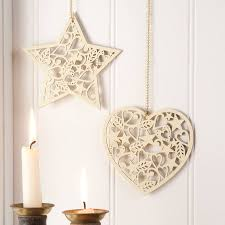 cream wooden christmas decorationsheart or starit u0027s the intricacy