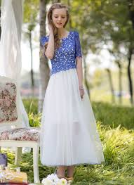 contrast color lace chiffon maxi dress with blue top and white