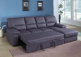 grey sectional couch with chaise and sleeper bed for small space