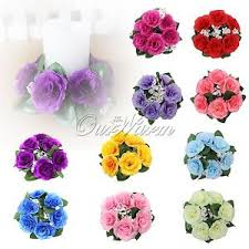 Candle Holders Decorated With Flowers 10pcs Rose Candle Rings Wedding Silk Flowers Candle Holder
