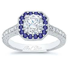 diamond rings sapphires images Octagonal engagement ring with sapphire halo and diamond accents jpg