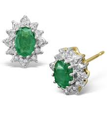emerald earrings uk emerald 6 x 4mm and diamond 18k yellow gold earrings item feg25 g
