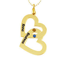 Engraved Necklaces For Couples 18k Gold Over Sterling Silver Couple U0027s Name U0026 Birthstone Heart Pendant