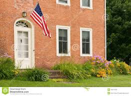 american flag on old brick home royalty free stock images image