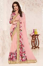 peach color fabulous peach color georgette fancy print party wear saree with