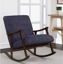 Rocking Chair Tab Wooden Rocking Chair Retro Indigo Mid Century Modern Upholstered