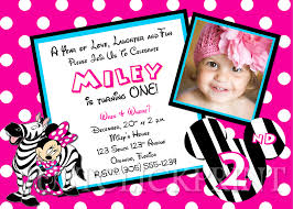 zebra minnie mouse birthday photo invitation printable just