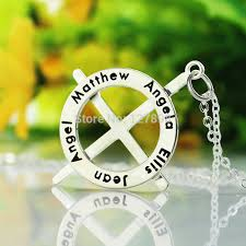 Couple Name Necklace Personalized Cross Initial Necklace Sterling Silver Boondock