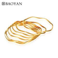 gold bangle bracelet set images Fancy wave stainless steel 7 piece set gold bangles bracelets for jpg