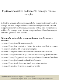 top resume examples top 8 compensation and benefits manager