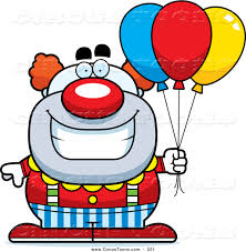 clown baloons circus clipart of a grinning pudgy circus clown with balloons by