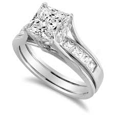 White Gold Cz Wedding Rings by 14k White Gold 1 3 4 Ct Princess Cut Cubic Zirconia Insert Bridal