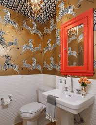 Powder Room Faucets Interiors Glamourous Powder Room With Stunning Foil Gold Wallpaper