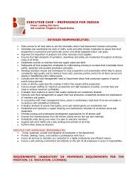 Resume Samples For Cooks by Chef Duties Resume Cv Cover Letter