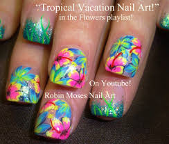tropical flower nail art by robinmoses pink green yellow orange