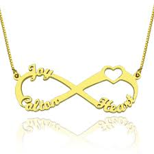 gold plated necklace with name personalized gifts heart infinity necklace 3 names 18k gold plated