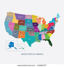 america map in usa map color name countriesunited states stock vector 245984377