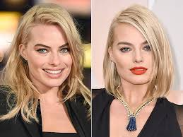 pics of new short bob haircuts on jordan dunn and lilly collins oscars 2015 margot robbie debuts bob haircut on the red carpet