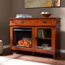electric fireplace console brown mahogany