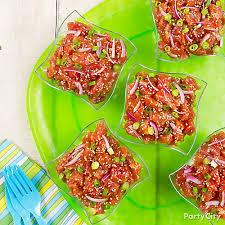 Tropical Party Themes - tropical tuna poke idea luau food ideas luau party ideas
