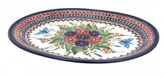 butterfly serving platter blue pottery floral butterfly large oval serving platter