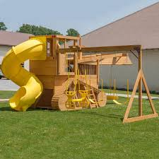 playground equipment or backyard playsets slide wooden swing set