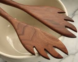 Wood Carving Kitchen Utensils by Wooden Salad Servers Set Kitchen Utensils Of Black Walnut