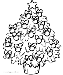 Decorated Christmas Tree Ornaments Coloring Page Color Teaching Tree Coloring Pages Ornaments
