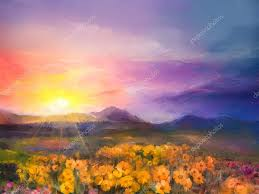 oil painting yellow golden daisy flowers in fields sunset meadow